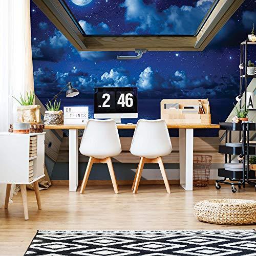 Dreamy Nachthimmel 3D-Dachfenster-Ansicht Vlies Fototapete Fotomural - Wandbild - Tapete - 208cm x 146cm / 2 Teilig - Gedrückt auf 130gsm Vlies - 10409VEXL - Himmel & Wolken