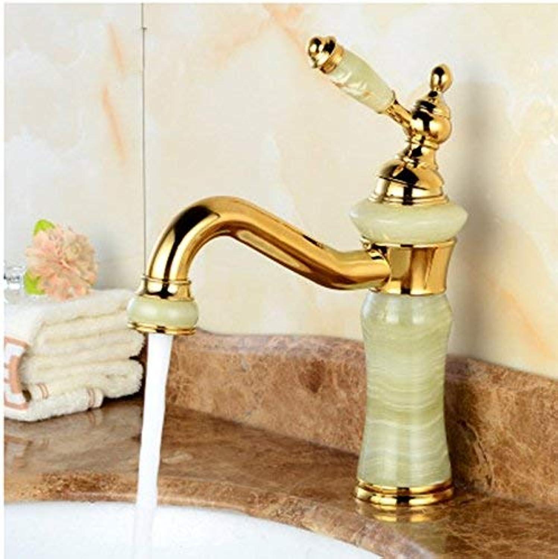 Oudan Waschbecken Heie und kalte Jade Einlochmontage-Einhandmixer-Badezimmer Drehen Kupfer Waschbeckenarmaturen