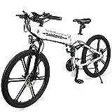 ZWJABYY Bicicleta EléCtrica,26 Pulgadas Bicicleta EléCtrica MontañA Plegable,500W Bici Electrica Urbana Ligera para Adulto,con ExtraíBle BateríA De 48V/10Ah Litio,Engranajes De 21 Velocidades,White