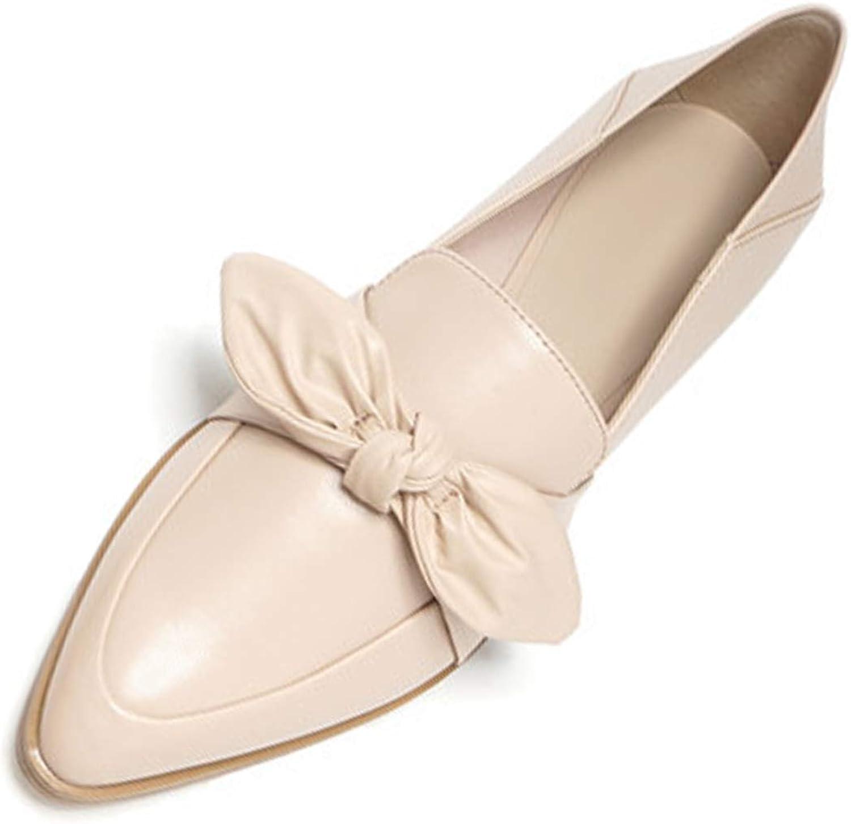 Mashiaoyi Women's Bowknot Pointed-Toe Flat Slip-on Loafers