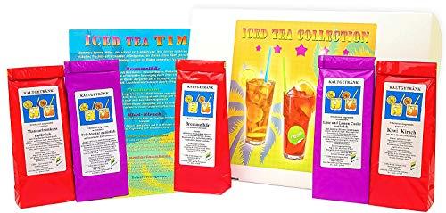 C&T Eistee Geschenk | 5 x 60 g Tee zum Ice Tea selber machen | Koffeinfrei + ohne Farbstoffe & Kohlensäure | Geschenkset für Tee Kaltgetränke