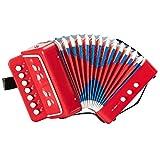 Acordeón De Juguete para Niños De 7 Teclas Y 2 Bajos, Mini Instrumento Musical para Niños, para La Enseñanza De La Primera Infancia, Buen Regalo para La Familia, Principiantes,Rojo