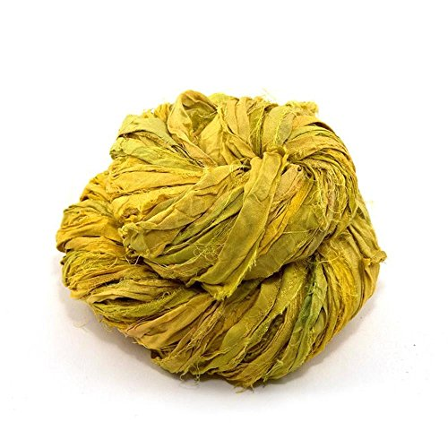 Darn Good Yarn Sari Silk Ribbon Yarn for Knitting and Crocheting, 50 Yards, Lemongrass, 100 Grams, 1 Skein