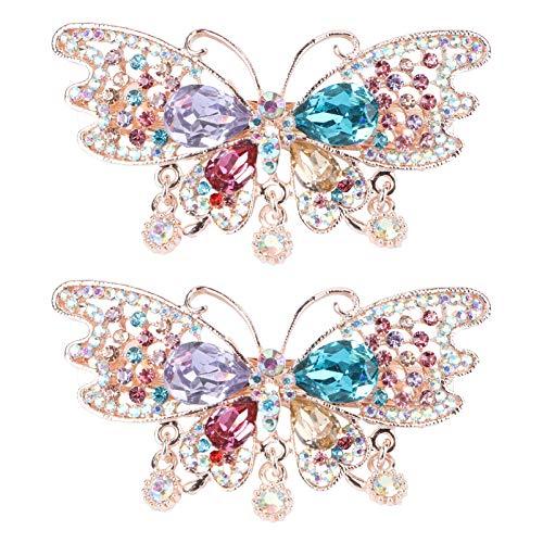 SOLUSTRE 2 Piezas de Diamantes de Imitación de Mariposa de Cristal de Cola de Caballo Soportes de Pelo Barrettes Brillo Metal Broche de Pelo Horquillas Barrettes para Mujer Chica