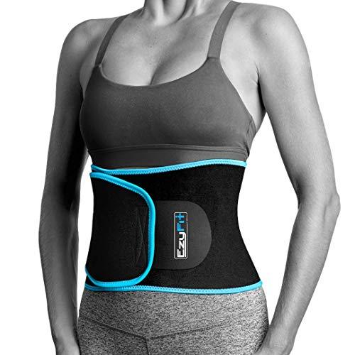 "EzyFit Waist Trimmer Premium Exercise Workout Ab Belt for Women & Men Adjustable Stomach Trainer & Back Support, Black Blue Trim Fits 24-42"""