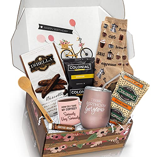Birthday Box Coffee Gift Basket - A Birthday Gift Basket with Coffee Gifts for Coffee Lovers in Your Life - Delight Her with a Happy Birthday Gift Basket for Women Coffee Gift Set She'll Adore