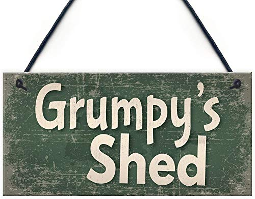 yukaiwei1 Sheds Grumpy's Shed House Door Plaque Garden Summerhouse Gifts for Dad Funny Wooden Plaque Hanging Sign Gift,Wood,6 x 12 Inchs