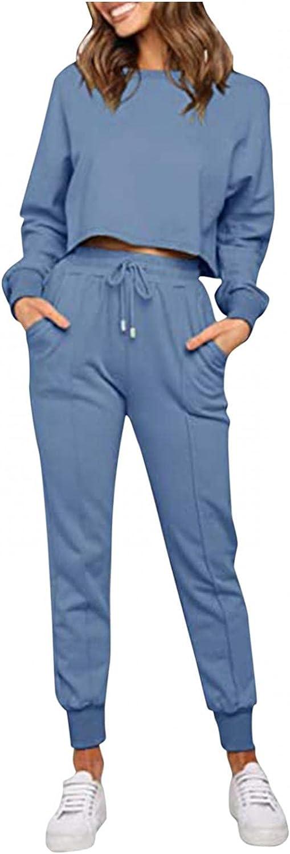 VEKDONE Women 2 Piece Jogger Long Sleepwear Loungewear Pjs Sets Long Sleeve Gradient Crop Top and Pants Pajama Sets