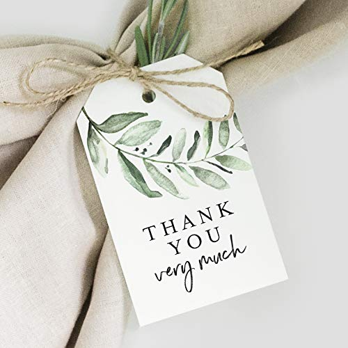 Bliss Collections Thank You Gift Tags, 50 Greenery Gift Tags for Wedding, Bridal Shower, Baby Shower Favors - Perfect for Birthday, Events, Celebrations, Thank You for Celebrating with Us Tag
