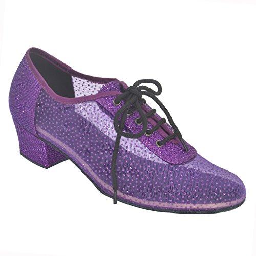 Jig Foo Latin Salsa Rumba Chacha Practice Ballroom Dance Shoes for Women,Purple Glitter and Mesh,4 B(M) US