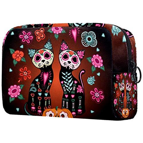 Makeup Toiletry Bag for Women Purse Cosmetic Travel Kit Organizer,skeleton cat flower pumpkin