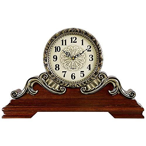 Reloj de Chimenea Reloj de Manto Reloj de Escritorio Retro nórdico Reloj silencioso de Metal de Madera Maciza Reloj Digital Informe por Hora Regalo, Adecuado para Decorar Sala de Estar, chi