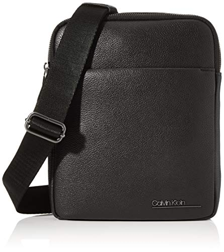 Calvin Klein Ck Bombe' Flat Crossover - Borse a spalla Uomo, Nero (Blackwhite Black), 1x1x1 cm (W x H L)