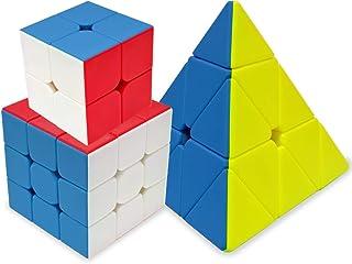 Maomaoyu Speed Cube Coffret, Pack de 3,Cube Magique 2x2 3x3 Pyraminx Smooth Cube pour Enfants et Adultes