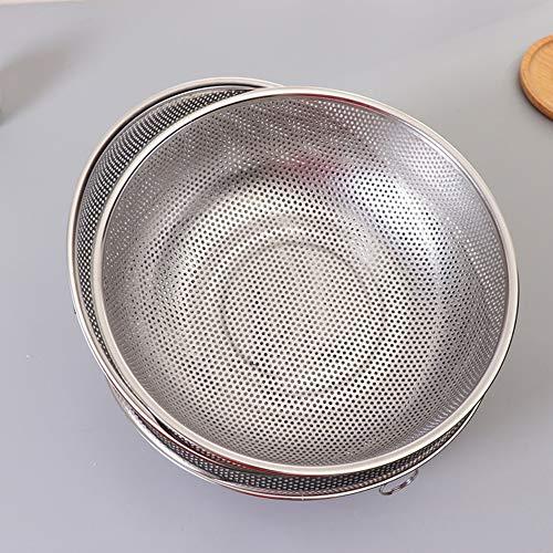 Siebplatte Backblech Küchenutensilien & Gadgets Edelstahl Netz Reisssieb Sieb Korb mit Rand Küchenzubehör – Silber
