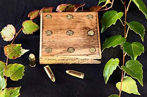 2.stk Untersetzer Eichen Holz Bier, Kaffee, Tee, Munition Patronen Upcycling 9mm Jäger Sportschützen Shooter