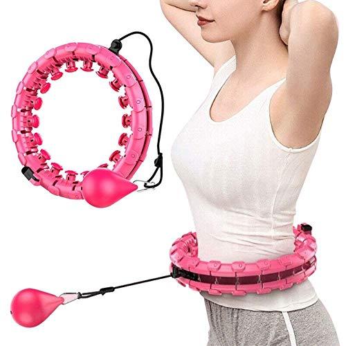 Hula-Reifen, 360-Grad-Massage, Automatische Rotierende Hula-Reifen, Übung Und Fitness Hula-Hoop 24 Abnehmbare Teile, Geeignet Für Erwachsene Und Kinder (Color : Pink)