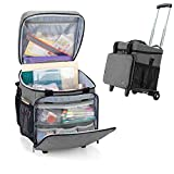 Luxja Rolling Scrapbook Tote, Scrapbook Bag with Detachable Trolley Dolly (Patented Design), Gray