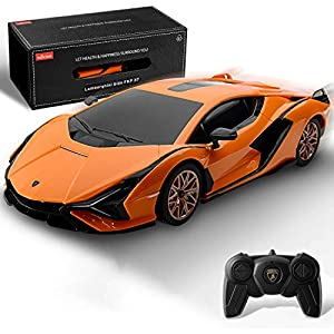 BEZGAR Licensed RC Series, 1:24 Scale Remote Control Car Lambor Sián FKP 37 Electric Sport Racing Hobby Toy Car Model Vehicle for Boys and Girls Teens and Adults Gift (Orange)