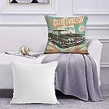 Ccstyle Funda de Cojín Funda de Almohada del Hogar Cars Retro Car Wash Poster Mecánico Reparación Limpieza Grunge Publicidad,Square Soft and Cozy Pillow Covers,
