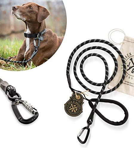 Jack & Russell Hundeleine Tajo aus hochwertigem Kletterseil mit Bolzenkarabiner Hunde Leine mit Soft-Grip Handschlaufe (Schwarz)