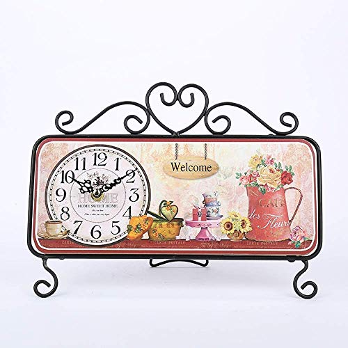 Pkfinrd Reloj Despertador Europeo Retro Reloj decoración cuadrícula Oxidado Locomotora Reloj labrado Hierro casero Sala de Estar Conjunto Mesa Reloj