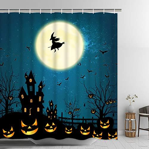 Ikfashoni Halloween Duschvorhang, Hexe Mond Duschvorhang mit 12 Haken, Kürbis Fledermäuse Badezimmer Duschvorhang, gruseliger Stoff Duschvorhang für Badezimmer, 178 cm L x 175,3 cm W, wasserdicht