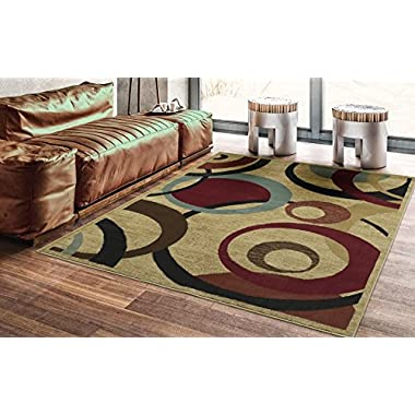 Ottomanson Royal Collection Contemporary Abstract Circle Design Area Rug, 5'3  X 7'0 , Beige