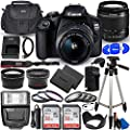 Canon EOS 2000D (Rebel T7) DSLR Camera with EF-S 18-55mm f/3.5-5.6 DC III Lens - Ultimate Accessory Bundle Includes: 2X SanDisk Ultra 32GB (64GB) SD Card, Extra LP-E10 Battery, Case and Much More from Pixel Hub