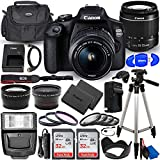 Canon EOS 2000D (Rebel T7) DSLR Camera with EF-S 18-55mm f/3.5-5.6 DC III Lens - Ultimate Accessory Bundle Includes: 2X SanDisk Ultra 32GB (64GB) SD Card, Extra LP-E10 Battery, Case and Much More