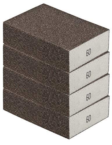 Schleifschwamm 4er Set GROB, robuste Körnung 60 I DIY, Handschleifer, für viele Materialien geeignet I hochwertiger Handschleifklotz, Schleifklotz, Schleifblock