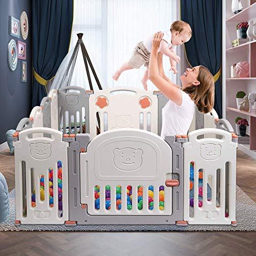APAN Baby-Klapp-Laufstall,14-Panel-Kinder-Sicherheits-Spielplatz,tragbarer Kunststoff-Sicherheitszaun für Kleinkinder,Home Indoor Outdoor Activity Center-Spielstift,freie Hände der Eltern