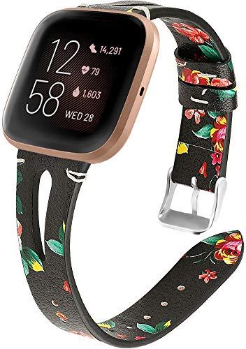 Reloj de Correa Cuero Compatible con Fitbit Versa 2 / Versa 2 SE/Versa Lite/Versa smartwatch, Hombre Repuesto La Correa (Pattern 15)