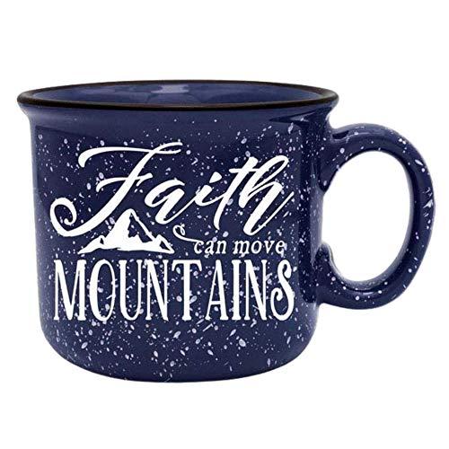 Faith Can Move Mountains Religious Ceramic Camper Coffee Mug