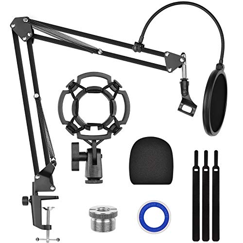 """Kasonic Microphone Stand Kit, Adjustable Microphone Suspension Boom Scissor Arm Stand with Pop Filter, 3/8"""" to 5/8"""" Adapter, Shock Mount, Cable Strips, Foam Mic Cover, Thread Seal Tapes"""