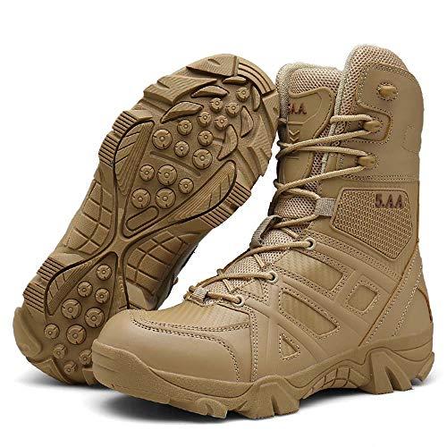 Bititger - Botas de desierto militares de piel, impermeables, con cremallera, botas tácticas y de combate para hombre, para patrullas, de seguridad, para policías, color Beige, talla 42 2/3 EU