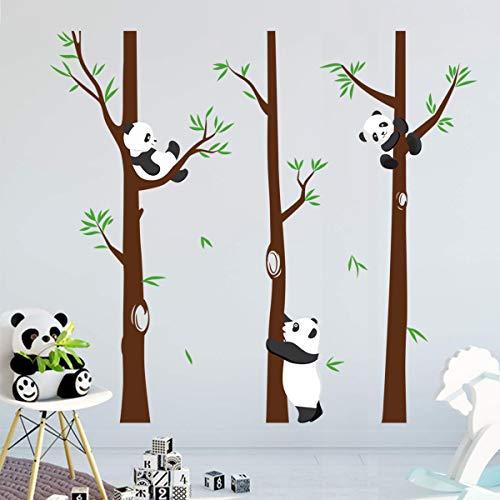 decalmile Wandtattoo Panda mit Groß Baum Wandaufkleber Panda Bären Wandsticker Kinderzimmer Babyzimmer Schlafzimmer Wanddeko (H: 171 cm)