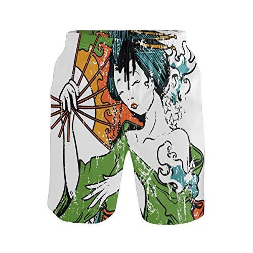 DEZIRO Mujer japonesa sosteniendo abanico patrón hombres traje de baño pantalones de playa de secado rápido