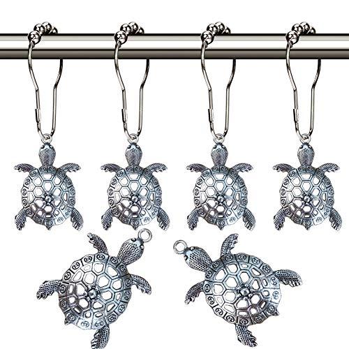 Aimoye Sea Turtles Shower Curtain Hooks Rings for Bathroom, Silver Metal Shower Curtain Hanger,Rust Proof Clip, Decorative Bath Room Accessories Set,Tropical Beach Fashion Theme Bathroom Decor