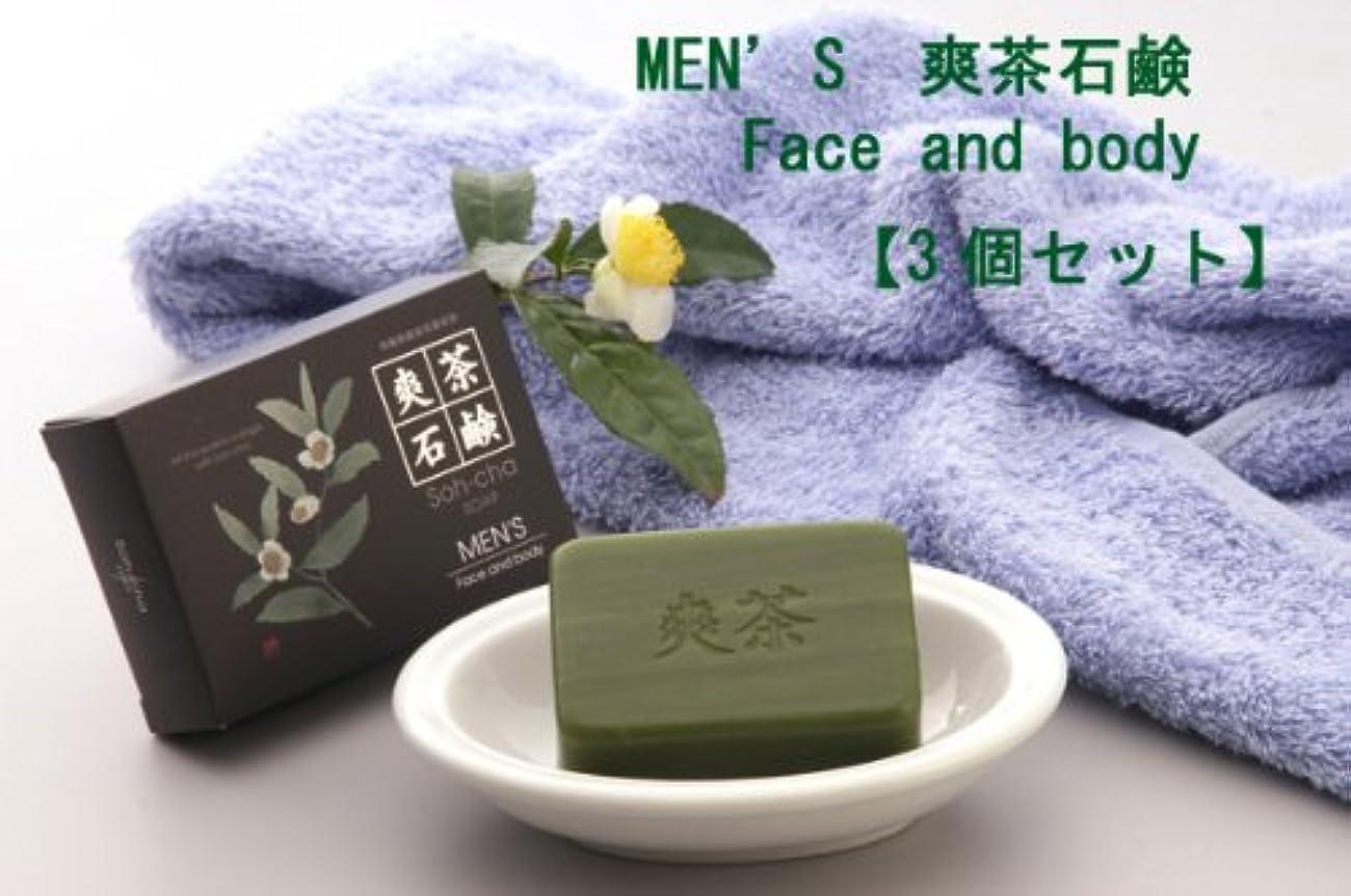 介入する夜間平凡MEN'S 爽茶石鹸 Face and body 3個セット(男性用デオドラントボディ+洗顔石鹸)