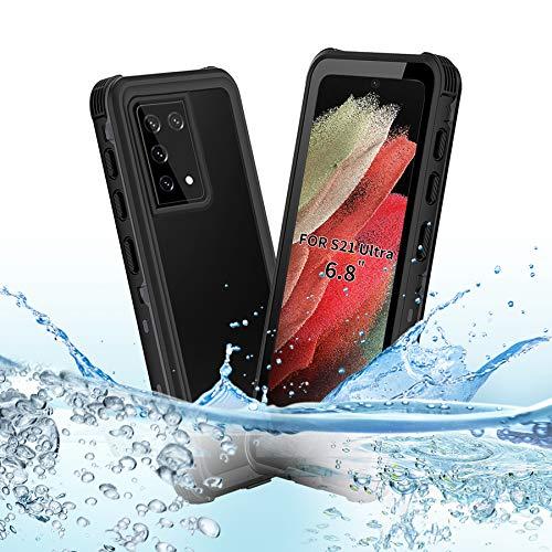 BDIG Hülle S21 Ultra Wasserdicht, 360 Grad R&um Schutz mit Eingebautem Bildschirmschutz Outdoor TPU Transparent Bumper IP68 Stoßfest Handyhülle Schutzhülle Kompatibel mit Galaxy S21 Ultra 6.8