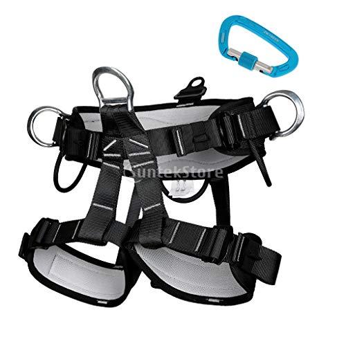 XYQY Klettergurt 2 Stück Strapazierfähiger Sicherheitsgurt Sicherheitsgurt Mit 24Kn D-Form Karabiner Für Klettern Höhlenforschung Bergsteigen Abseilen Rettung
