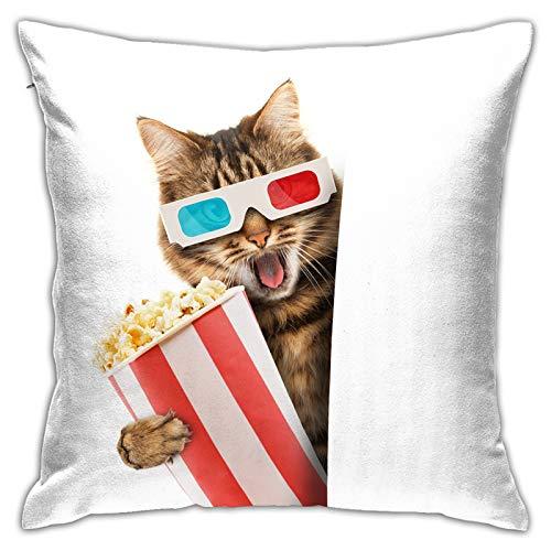 Funda de Cojín,Concepto de Cine Gato Gafas Palomitas de maíz,Funda de Almohada Cuadrado para Sofá Coche Cama Sillas Decoración para Hogar(50 x 50cm)