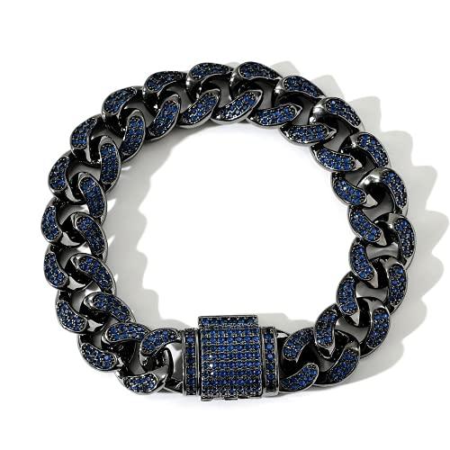 KMASAL Collar de cadena cubana negra Hip Hop Iced Out Bing pavimentar azul 5A+CZ pulsera collar cadena para hombres mujeres