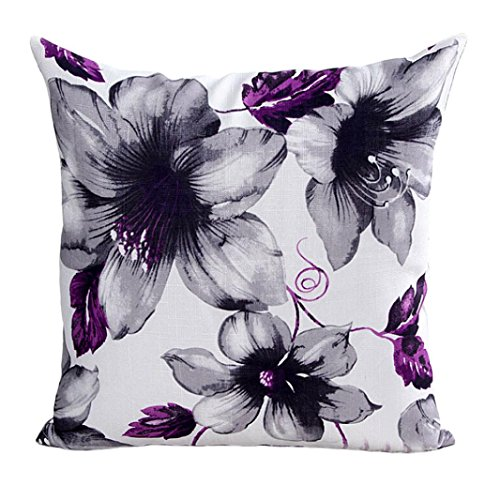 Pillow Case,Bokeley Cotton Linen Square Beautiful Flowers Print Decorative Throw Pillow Case Bed Home Decor Car Sofa Waist Cushion Cover (Purple)
