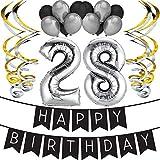 Sterling James Co. 28ème Anniversaire Party Pack - Noir & Silver Joyeux Anniversaire Bannière, Ballon et Tourbillons Anniversaire Pack - décorations - 28e Anniversaire Articles de fête