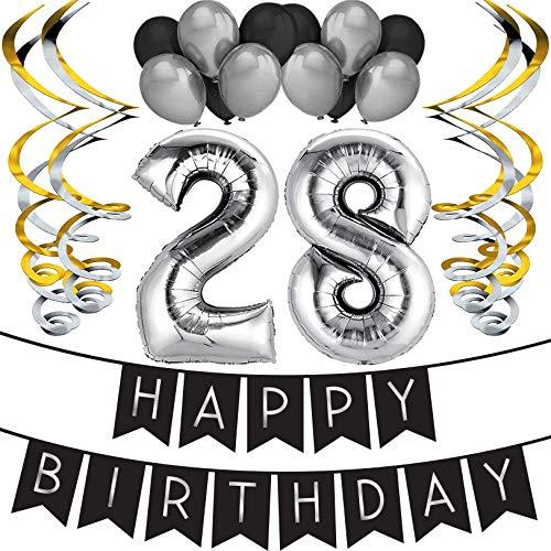 """Sterling James Co. Paquete para Fiesta de Cumpleaños Número 28 """"Happy Birthday""""- Paquete con Banderín de Feliz Cumpleaños Negro y Plateado, Globos y Serpentinas- Decoración para Cumpleaños"""