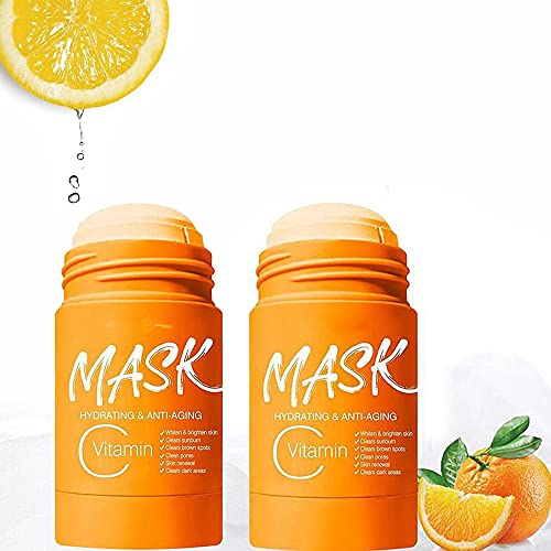40/80 ML Vitamin C/Charcoal Clay Mask, Poreless Deep Cleanse Mask Stick, Blackhead Remover, Moisturizer Oil Control, Improves Skin,for All Skin Types Men Women (Vitamin C, 80 ML)