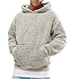 Sudadera con capucha para hombre, de forro polar, casual, esponjosa, color sólido, cálido, elegante, con bolsillos, cómoda, con capucha, elegante, para exteriores