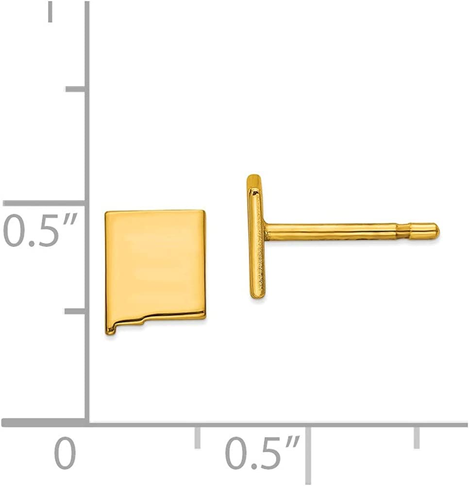 Solid 14K Gold AK Small State Earring